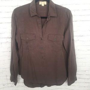 Cloth & Stone Gray Tencel Button Down Shirt Tunic
